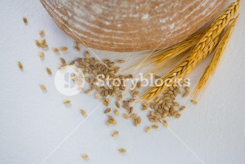 Bread loaf with wheat grain