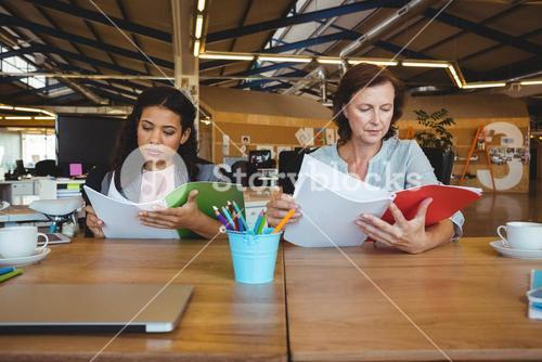 Business executives reading document