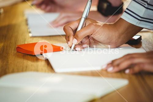 Business executive writing in book