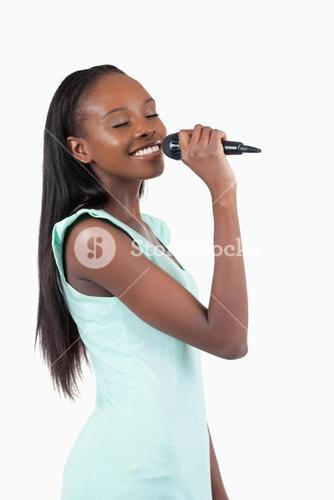 Smiling young female singer