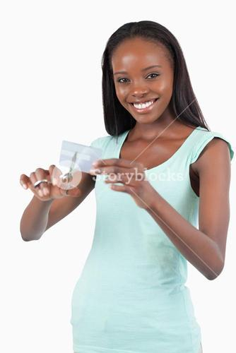 Smiling woman solving her financial problems