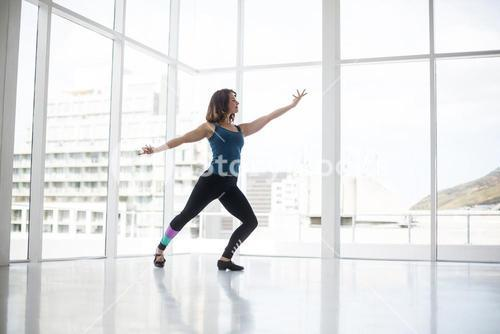 Dancer practicing contemporary dance