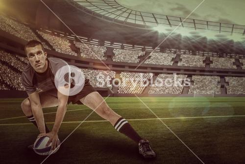 Composite image of sports player in black jersey stretching with ball with 3d
