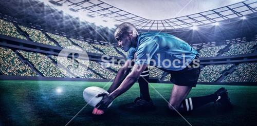 Composite image of rugby player keeping ball on kicking tee with 3d