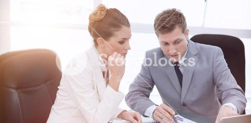 Business team analyzing market research