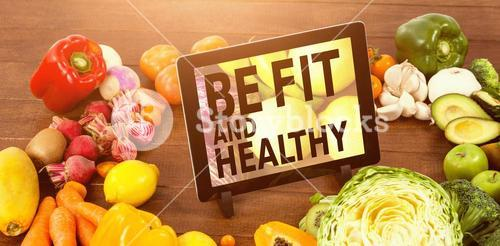 Composite image of be fit and healthy