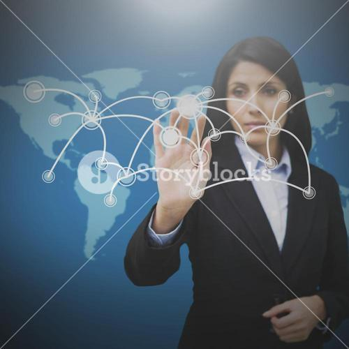 Businesswoman pressing on holographic screen with connecting lines