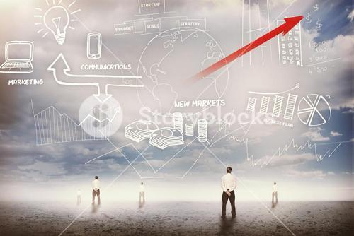 Businessmen standing looking up at business flowchart 3d