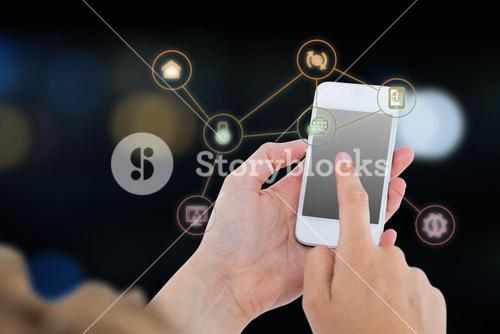 Composite image of woman using her smartphone 3d