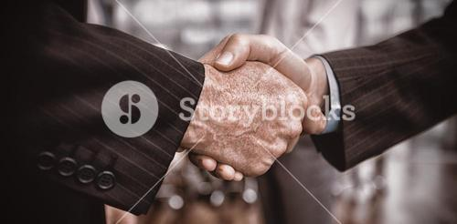 Businessman shaking hand with colleague