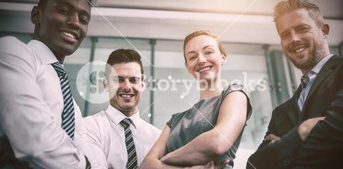 Portrait of business people standing in office