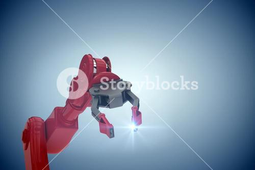 Composite image of cropped image of red robot arm with claw 3d