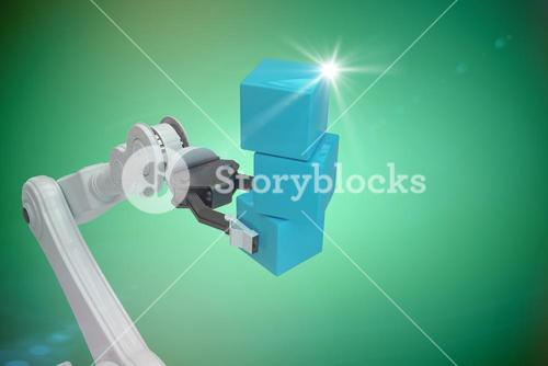 Composite image of cropped image of robot hand holding blue boxes 3d