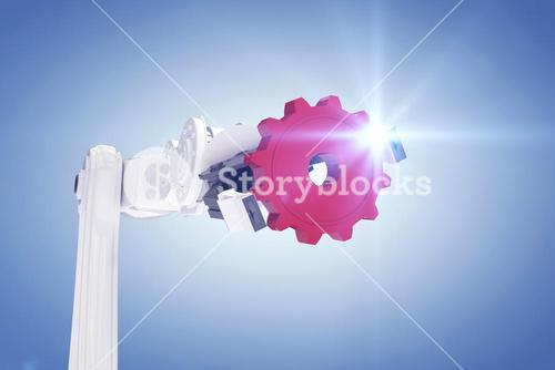 Composite image of cropped image of robotic hand holding red gear 3d