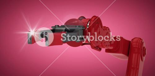 Composite image of red robot arm with black claw 3d