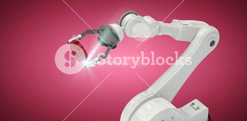 Composite image of high angle view of robotic arm holding gear 3d