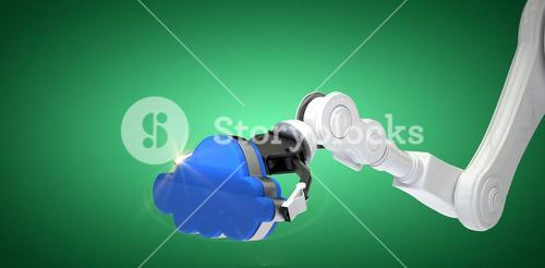 Composite image of cropped image of robot arm holding blue cloud 3d