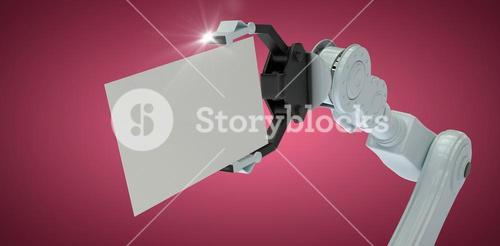 Composite image of cropped image of robot hand holding placard 3d
