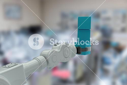Composite image of cropped image of robotic hand holding stack of boxes 3d