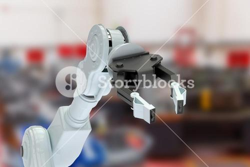 Composite image of cropped image of robotic hand with claw 3d