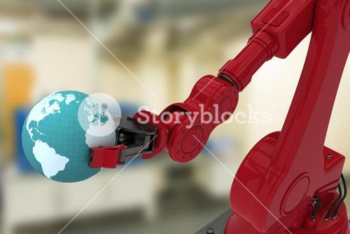 Composite image of digital image of red robotic hand holding globe 3d