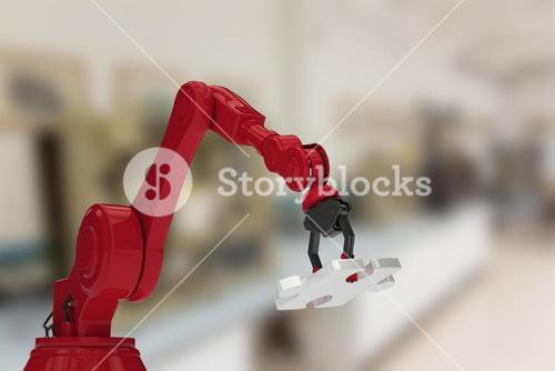 Composite image of red robotic hand with jigsaw puzzle 3d