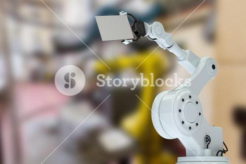 Composite image of illustration of robot hand with placard 3d
