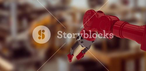 Composite image of low angle view of red robot arm with black claw 3d