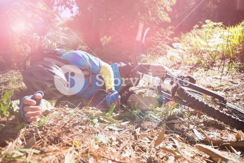 Male mountain biker fallen from his bicycle in forest