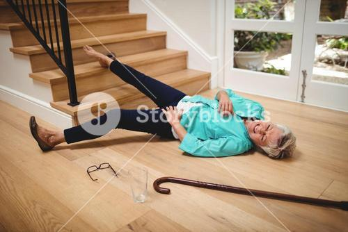 Senior woman fallen down from stairs