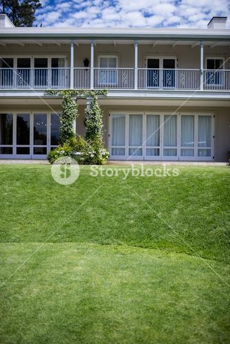 Exterior of a house with lawn