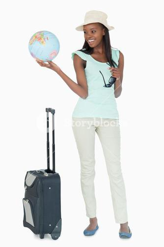 Young woman ready to travel the world