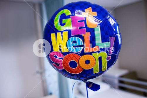 Get well soon balloon in hospital