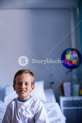 Patient sitting in ward at hospital