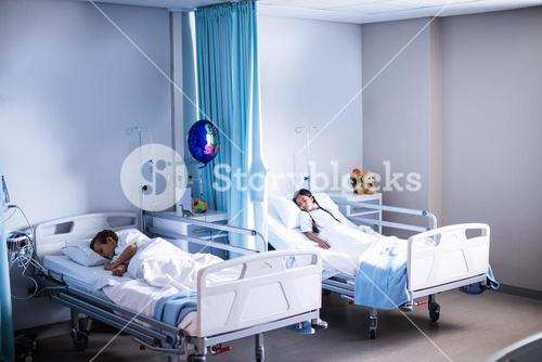Patients sleeping on the bed