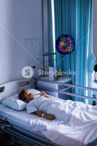 Patient sleeping on bed