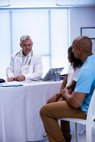 Doctor and patient interacting with each other
