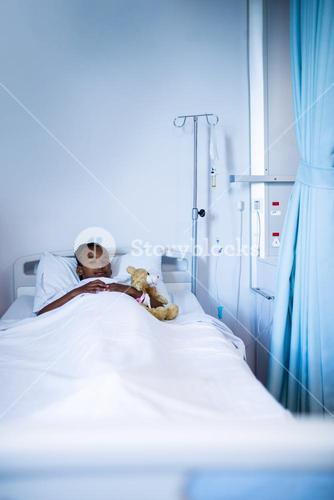 Patient resting on the bed at hospital