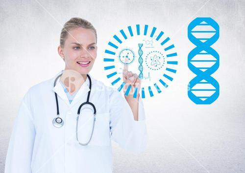 Female doctor touching an invisible digital wall with genetic signs