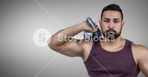 Man exercising with kettle bell