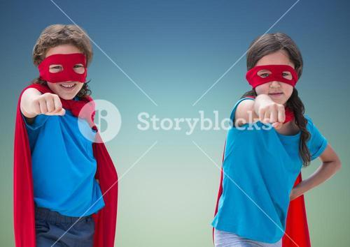 Superhero kids in red capes and eye masks