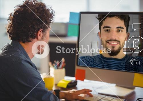 Man having a video chat on computer screen