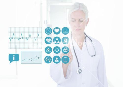 Female doctor touching an invisible digital screen