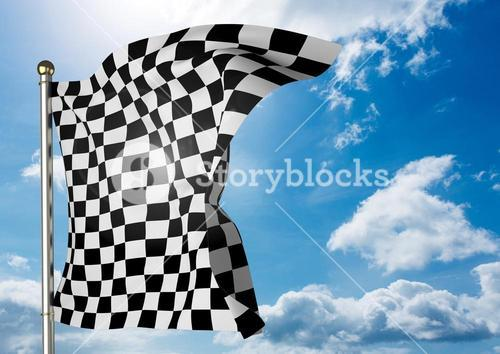 Checker flag flapping against sky