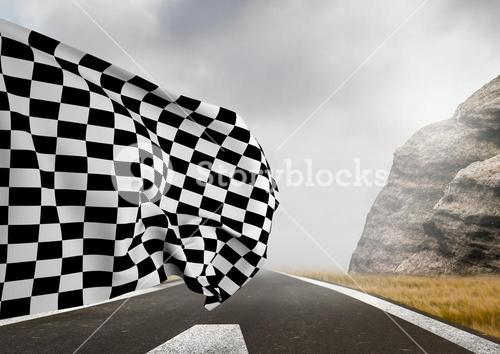 Checker flag flapping on road