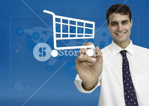 Businessman drawing shopping cart on digital screen