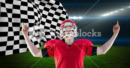 American football player celebrating his victory against checkered flag