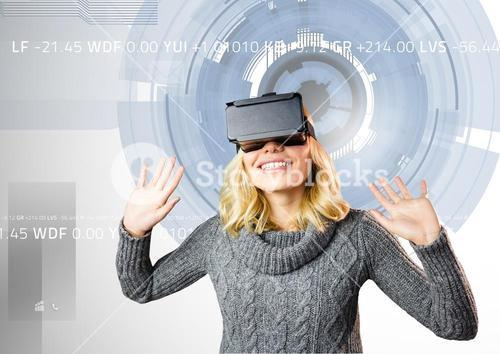 Woman using virtual reality headset against digitally generated background
