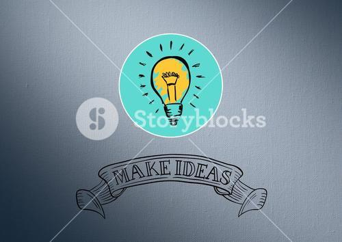 Digitally generated image of light bulb with idea concept