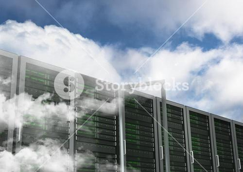 Database server systems against sky in background